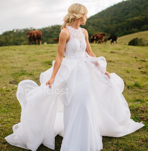 Charming Lace Wedding Dresses With Detachable Train 2019 Jewel Appliques Illusion Back Sweep Train Country Bridal Gowns Robe De Mariage