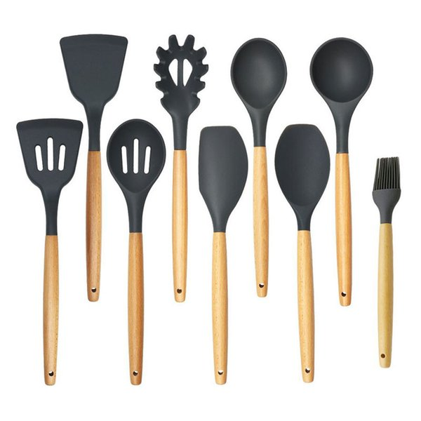 2019 Silicone Cooking Tool Set With Wooden Handle Kitchen Accessories Soup  Ladle Spoon Slotted Shovel Home Kitchen Utensils Sets From Santia, $12.23 |  ...
