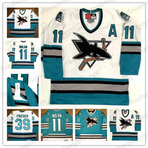 11 Owen Nolan 39 Friesen San Jose Sharks 1996 CCM Vintage Jerseys Jerseys Retro para hombre cosido Hockey Jersey Custom Any Name Number Jerseys