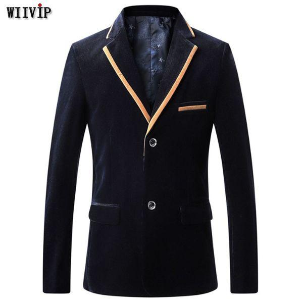 L-7XL New Fashion Spring Winter Men Notched Patchwork Blazer Coat Casual Plus Size Design Party Male  Blazer t0274