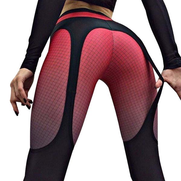Новый 2019 весна лето лоскутное леггинсы женская спортивная плед градиент цвета эластичные брюки бодибилдинг фитнес леггинсы