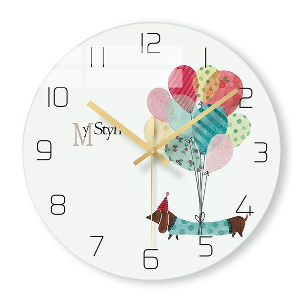 Cute Balloon Round Glass Creative Girl Living Room Wall Clocks Home Decoration Modern Hanging Clocks 12""