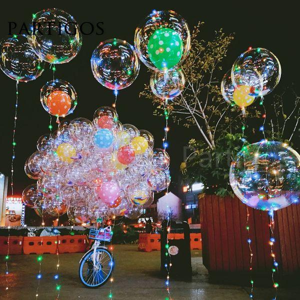 Bulle PVC transparent Ballons Led Bobo Clair hélium sans lumière Globos anniversaire de soirée de mariage Décor valentines cadeaux jour