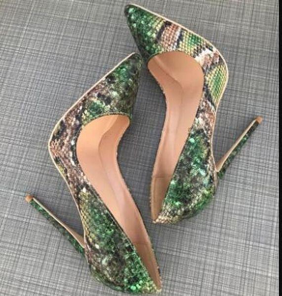 Neue grüne Schlangenleder spitzen High Heels Pumps, Frauen klassische Luxus rote untere Schuhe mit hohen Absätzen, dünne Ferse Hochzeit Kleid Schuhe 120mm