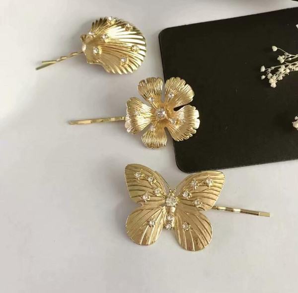 2019 new European and American metal butterfly shell shape clips Vintage flower hair accessories clip accessories