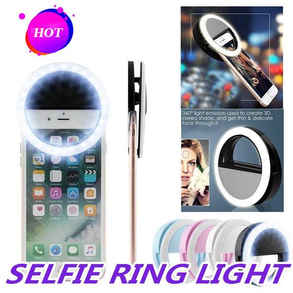 Universal selfie Luz del anillo LED recargable flash de la cámara de clip para IP Phones 7 8 X HTC Samsung con caja al por menor