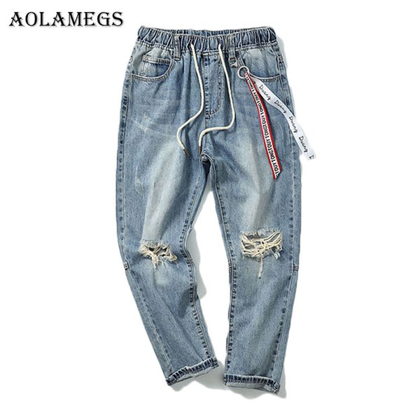 Aolamegs Ribbon Ripped Jeans For Men Holes Pants Mens Selvage Skinny Jeans Baggy Brand Denim Cotton Trousers Bottoms Fashion
