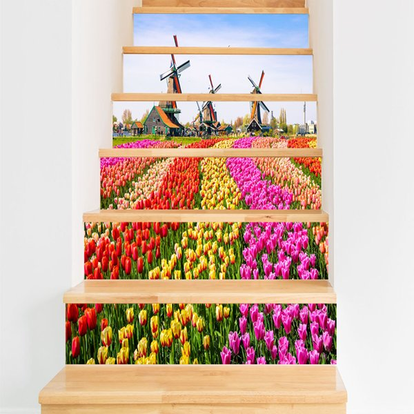 New 3D Colorful Windmill Flower Sea DIY Stairs Tiles Art Mural Home Decor Self-adhesive Waterproof Wall Sticker PVC Floor Poster