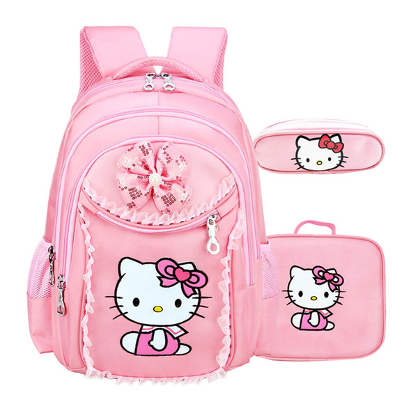 Waterproof Students Cartoon School Bag Girls Cute Polyester Satchel Children Nylon Zipper Backpack Large Capacity Case J190427