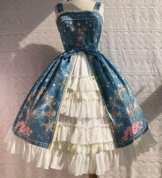 One Piece DE Latest Design Photos Costume a tema carino Vestito blu alla moda da donna Lolita Dress Plus Size Style