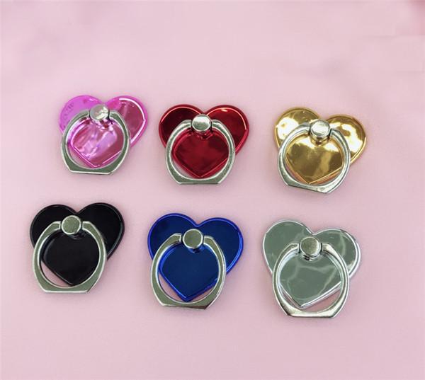 Nuevo soporte de anillo de dedo en forma de corazón de amor Soporte de soporte de anillo de teléfono móvil Soporte de soporte de anillo de teléfono Moblie para Samsung xiaomi