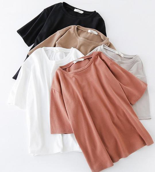 2019 t-shirt à capuche femme lâche manches courtes lâche coréen printemps et en été 074