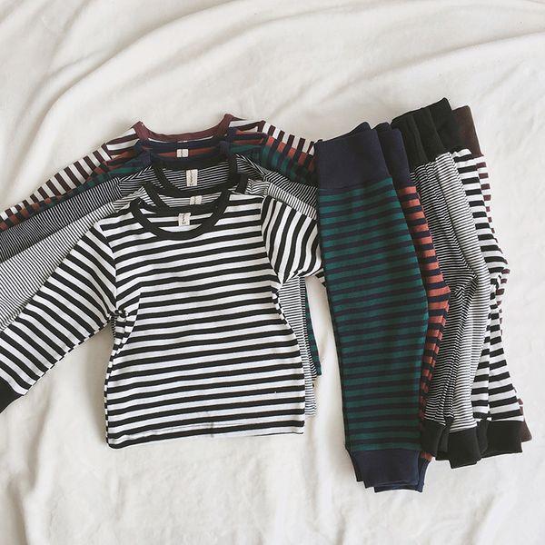 Bebek Termal İç Giyim çocuklar Pijama Takımı Uzun Pamuk Sıcak Kış İç Giyim Boys Kız Bebek Pijama Mağazası Şerit Çocuk Giyim için ayarla