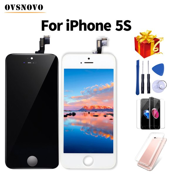 Grade LCD ecran For iPhone 5s Display Touch Screen Digitizer Replacment Assembly Repair Parts+Tempered Glass&Tools+TPU Cover