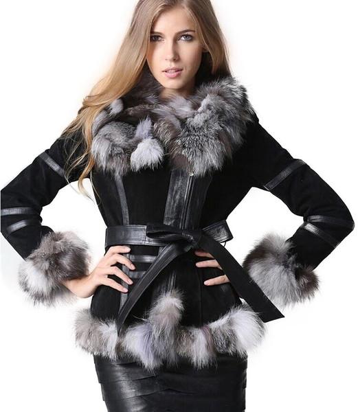 Winter Women's Real Fur Coats Moto & Biker Genuine Leather Coat Fox Fur Collar Plus Size Natural Fur Jackets Women Clothes 2018 Y191205