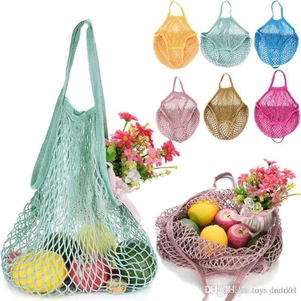 Fischernetz Tasche Einkaufstasche Obst und Gemüse tragbare faltbare Baumwollseil wiederverwendbare Schildkröte Tasche Handtasche Küche liefert Kleinigkeiten 50pc