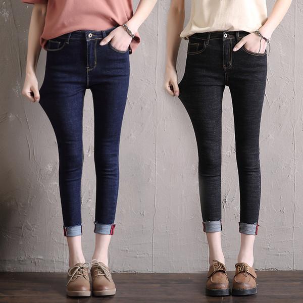 Mulheres MUM denim jeans tornozelo comprimento calças femininas skinny lápis calças marca 9N32