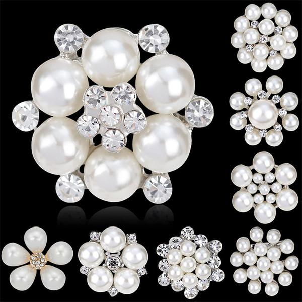 Fashion Women Large Brooches Lady Snowflake Imitation Pearls Rhinestones Crystal Wedding Brooch Pin DIY Jewelry Accessorise