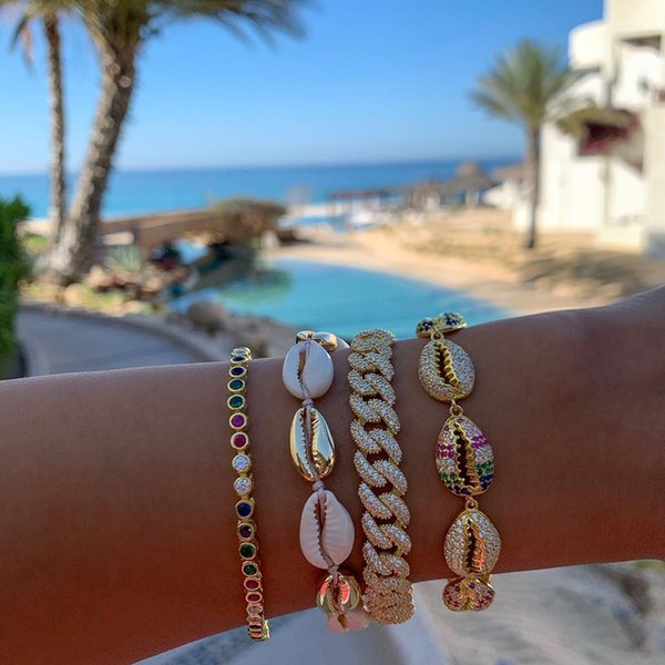 Hot selling Summer beach fashion jewelry micro pave sparking bling white rainbow cz sea shell charm bracelet