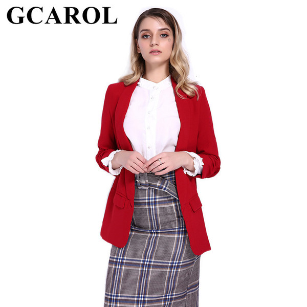 GCAROL Notched Collar Women Candy Blazer 3/4 Ruched Sleeve Open Stitch OL Office Suit Jacket High Quality Outwear In 5Color Y190925