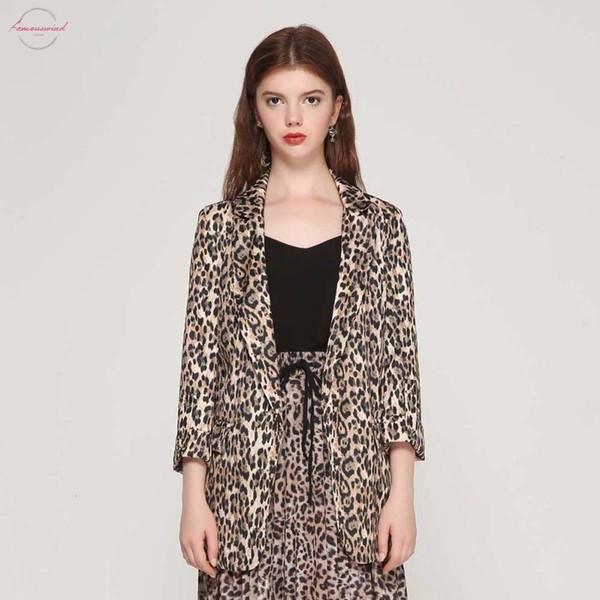 Женщины Blazer Casaco Vintage Карманы Зубчатый воротник с длинным рукавом пальто Женщины Верхняя одежда Мода Leopard Женская Верхняя Ca076