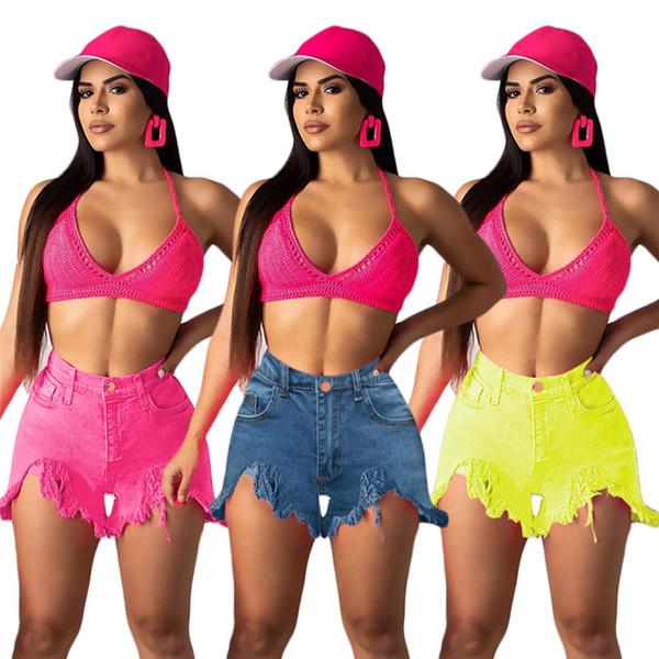 Women Jeans shorts summer clothes fashion stylish bodycon leggings Straight shorts pocket button zipper ripped asymmetrical plus size 635
