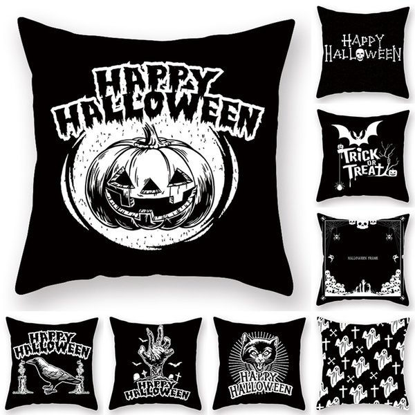 Fabulous Halloween Cushion Cover Ghost Witch Pumpkin Linen Pillow Case Car Seat Sofa Waist Throw Pillowcases Home Deco 2019 Outdoor Patio Cushion Covers Pdpeps Interior Chair Design Pdpepsorg