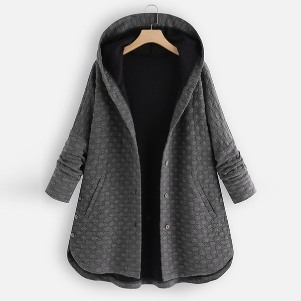 winter coat women oversized plus size winter women vintage pure color button asymmetrical hem hooded coat abrigos mujer invierno