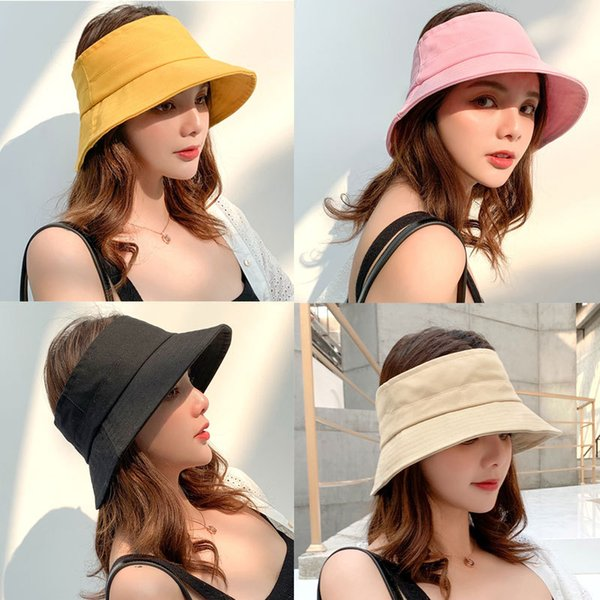 Foldable Empty Top Fisherman Cap Fashion Woman Summer Bucket Hat Portable Wide Brim Sun Hat Female Beach Sun Visor Cap LJJT674