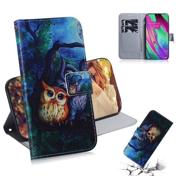 Wallet Case For Samsung Galaxy A40 Filp Cover Hot selling Coloured pattern Wolf tiger lion Owl Dog With Card Slot Design