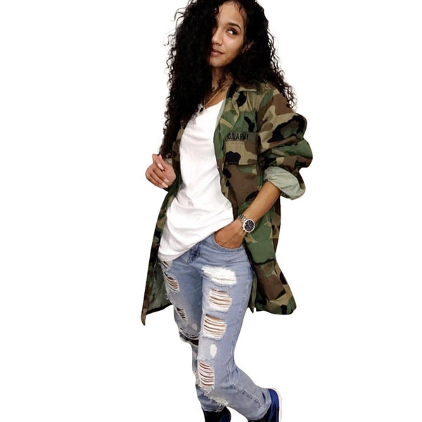 2018 new camo jacket women plus size long sleeve denim jacket women's jacket coat thumbnail
