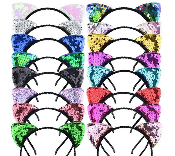 Pretty designer headbands baby headbands Cat ears Sequin headband Girl party Headband hair accessories 4