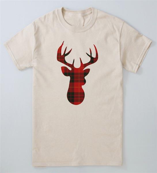 Christmas Deer T-Shirt Yule Stag Natividade Tartan Tee Festive Xmas da neve dos alces Top Outfit Camiseta