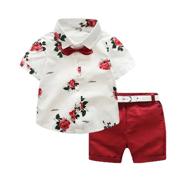 New Summer Boys Clothing Sets Children Clothing Set Kids Boy Clothes Flower Tie Shirts+Shorts 2PCS Gentleman Suit Boys
