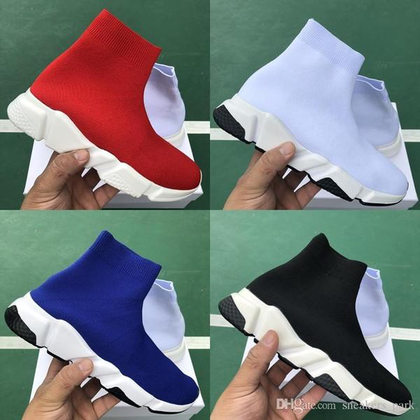 2019 zapatos de lujo de París calcetín velocidad Formadores Negro Blanco Zapatos de cada Hombres Mujeres Oero cargadores de las mujeres zapatos de las zapatillas de diseño 36-45