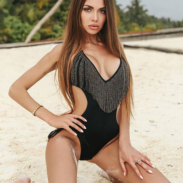 V Neck Fringe Swimsuit Sexy One Piece Swim Suit Women Swimwear Female Halter Tassel Trikini Bandage Monokini Beach Wear Bodysuit