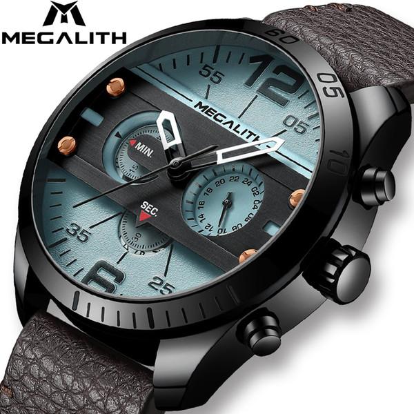 MEGALITH Fashion Sport Men's Watch Men Waterproof Multifunction Militray Leather Strap Quartz Men Watch Clock Relogio Masculino LY191213