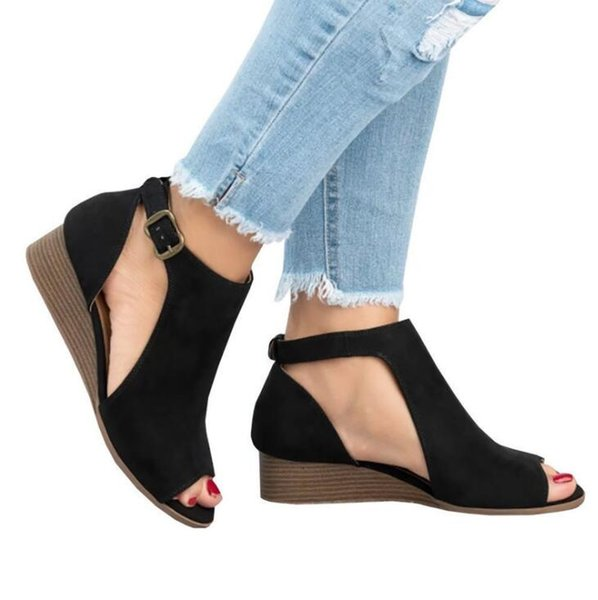 Summer Sexy Women's Wedge Casual Buckle Sandals Sides Hollow Out Ladies Slope Thick Heel Flat Shoes Fashion Rome Low-heeled Shoes