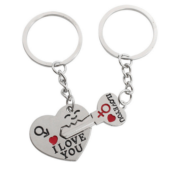 Fashion Heart Key Ring Silver Color Lovers Key Chain Valentines Day gift 1 Pair Couple I Love You Letter Keychain alloy jewelry accessories