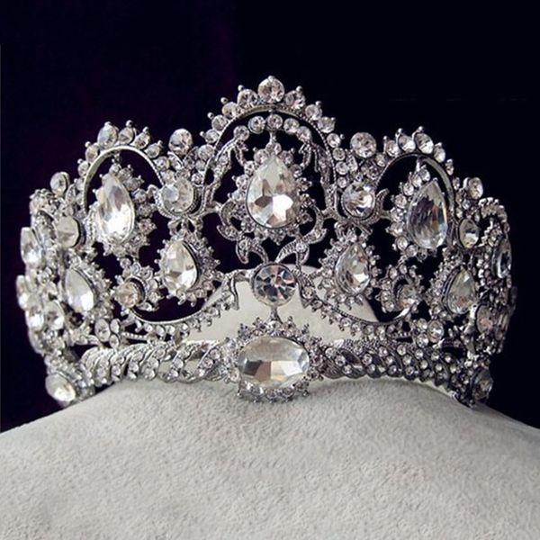 Luxury Bridal Tiara big crystal Queen Crown Wedding Hair Accessories diadem headband Pageant Hair Ornaments Headdress D19011005