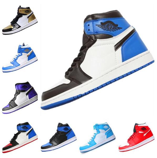 Nouveau 1 Haute Chaussures De Basket-ball OG Pas Cher Royal Banned Bred Noir Blanc Toe Hommes Femmes Formateur 1s Pas Pour La Revente V2 Presto