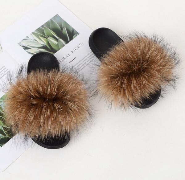 newmart365 / 2019 Zapatillas de piel de zorro real Zapatos de diapositivas Zapatillas peludas Fuffly Zapatillas Chanclas Sandalias Deslizadores Sandalias de arras