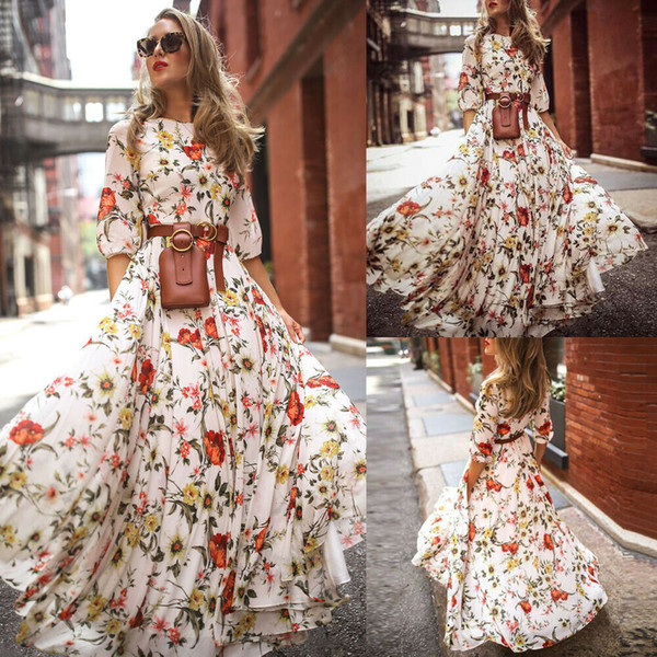 Women's Maxi Boho Dress Floral Summer Beach Cocktail Party Long Sundress Fashion Casual Daily Half Sleeve Not Include Belt