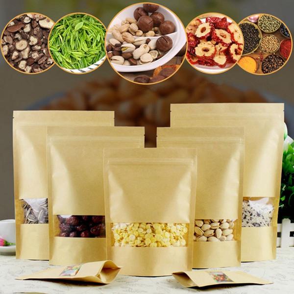 Sacchi di carta Kraft di alta qualità 14 dimensioni Confezionamento alimentare Con sacchetti richiudibili con cerniera per la vendita al dettaglio Confezione di imballaggio alimentare