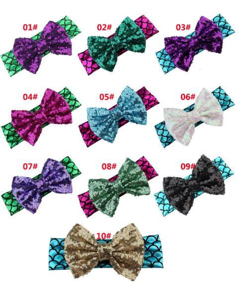 Big Disordinato paillettes Bow Glitter Metallic Mermaid Fascia, ragazze e bambini Mermaid Hairbow Hair Band Accessori per capelli