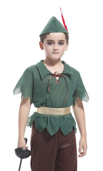 Enfants Garçons Peter Pan Costumes Hunter T-shirt avec Ceinture Ceinture Halloween Cosplay Party Boy pour Fantaisie Carnaval Role Play Vêtements