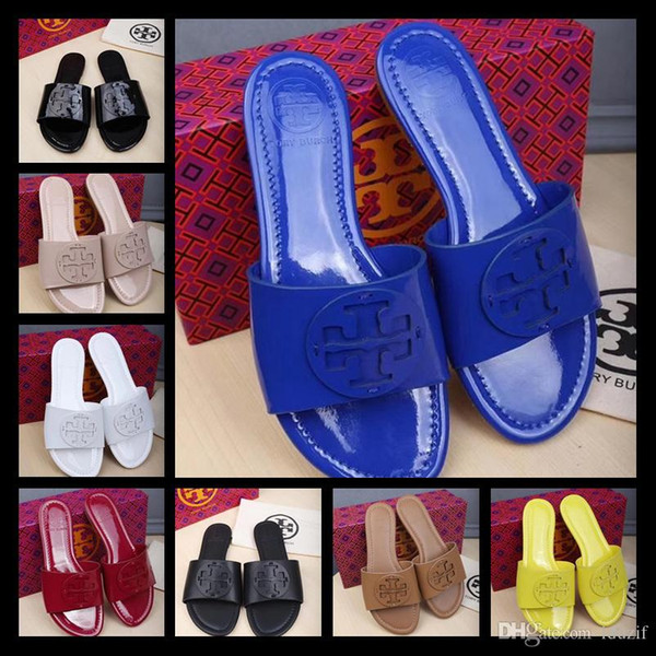 Italy Summer Tory Slippers Women T-strap Flip Flops Thong Sandals Designers Buckle Strap Lady Slides Women's Shoes Gold Silver Mujer