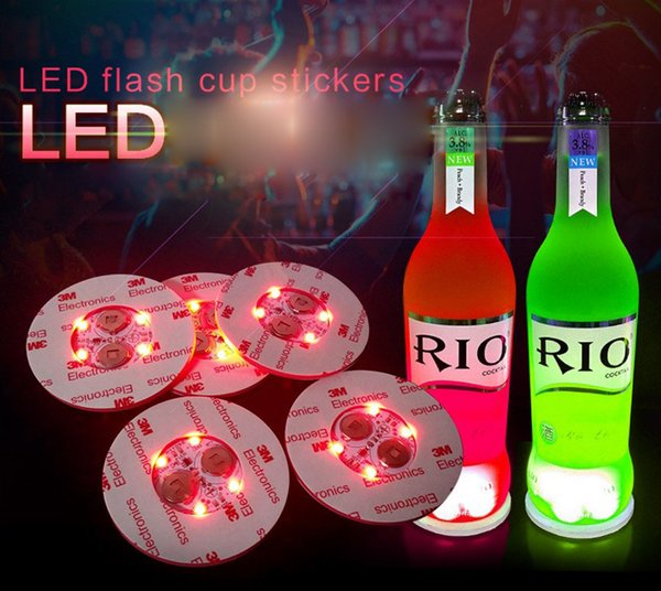 best selling LED light coaster 6cm round beer drink light bottle pad bar fun props colorful LED light bottle stickers flash cup stickers Party gift