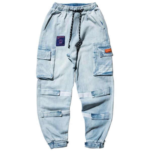 2020 Frühling-Hip Hip-Denim-Hosen Männer japanische Street Taschen Cargo Pants Men Joggers Harajuku Harem Jeans
