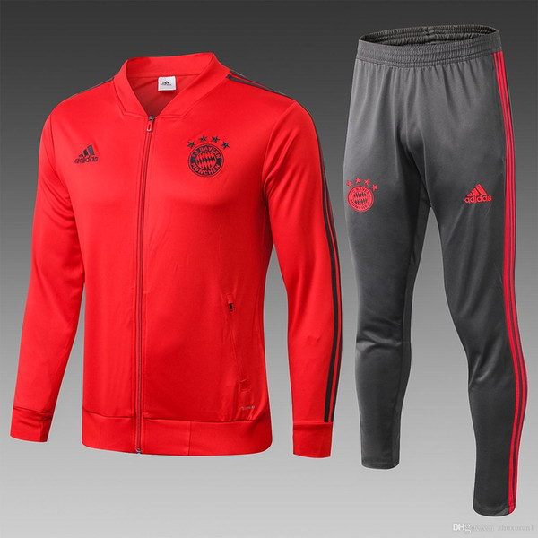 H7 big design high quality Fcbayern munchen competition 1819 jacket Bayern low collar red (black side) competition suit elastic anti-wrinkl